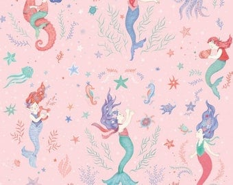 Mermaid Dreams Pink Studio E Fabric