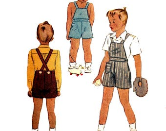 Child's Playsuit Pattern 1940s McCall Vintage Sewing Children's Overalls Shirt Play Suit Boy's Size 2