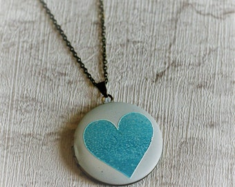 Blue Heart Locket Necklace, Love Jewelry, Valentines Gift, Heart Locket