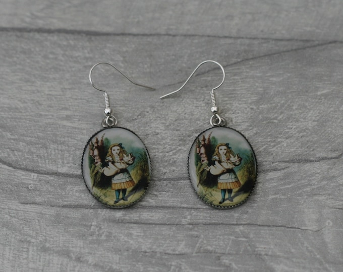 Alice and Pig Earrings, Alice in Wonderland Illustration, Dangle Earrings, Alice In Wonderland