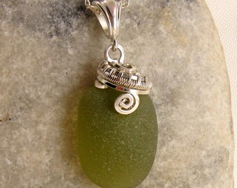 Green Beach Glass Necklace - Beach Glass Pendant - Sea Glass Jewellery - Beach Glass Jewelry - Sea Glass Necklace - Wire Wrapped