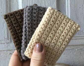 Set of three eco friendly Tawashis dish scrubbies acrylic crochet scrubbies natural colors hand made great gift item