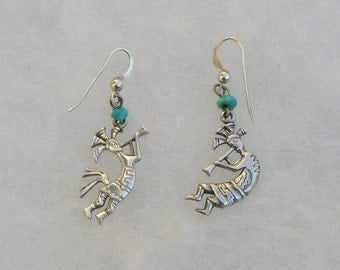 Kokopelli Sterling Silver Native American Signed Earrings