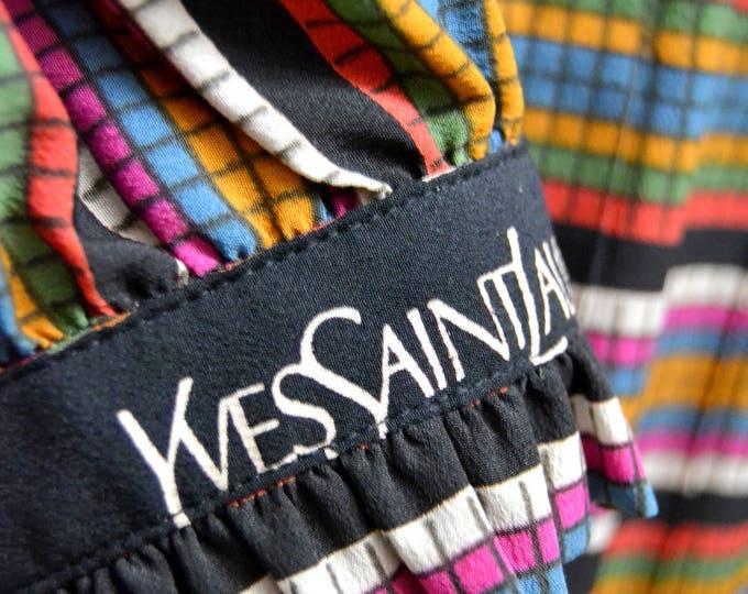 Amazing YVES SAINT LAURENT Graphic Rainbow Pleated Dress. Early 1980's Silk Ysl Dress