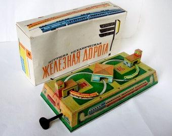 Vintage Soviet Clockwork Train in Original Box - Tinplate Toy with Wonderful Graphics - Made in USSR