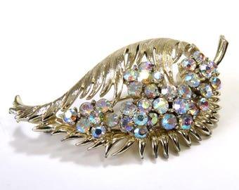 Vintage Coro Sparkling Brooch/ Beautiful Leaf Design with AB Rhinestones