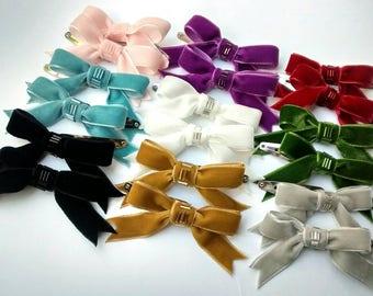 ce851ee62eb77 Aqua Velvet Bow Hair Clips Two Beaded Ribbon Hair Clips Teen