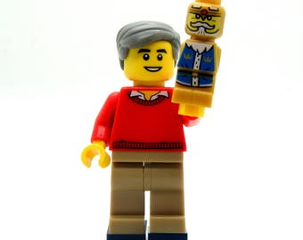 Mister Rogers Custom Figure Crafted With LEGO® Elements - Keychain or Necklace Options!