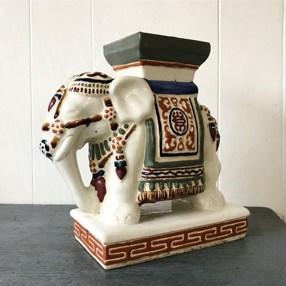 vintage ceramic elephant statue - plant stand - Asian chinoiserie - boho animal figure