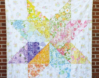 Giant Vintage Star Quilt Pattern - Jeni Baker - 3 patterns in 1 - Throw Quilt, Baby Quilt & Pillow