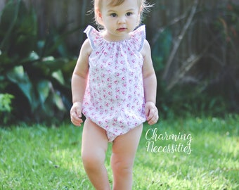 NEW Baby Girl Flutter Sleeve Bubble Romper, Toddler Girl Clothes, Dainty Lady Pink, Boho Outfit by Charming Necessities