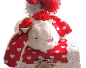 Love Bunny Jewelry Box-Treasure Box-Handmade Plush-Valentine's Gift-Child's Decor-Engagement Box-Rabbit Plush-Handmade Gift-Secret Stash