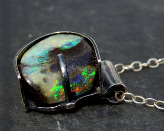 Australian boulder opal necklace / natural opal / boulder opal / October birthstone / opal jewelry / sterling and opal / ready to ship