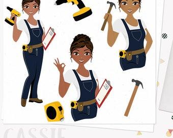 DIY woman character clipart, construction, fix it girl, tools, hammer, drill clip art, african american dark skin tone (Cassie L276)