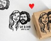 Custom portrait bridesmaid Wedding favors for guest Save the date address stamp invitations bachelorette / Unique couples' art face gift