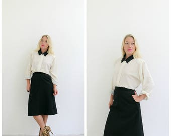 """1980s Classic Wool Skirt /// Size Extra Small /// Size 25"""" Waist"""