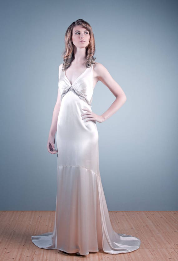 Ava - 1940's inspired silk charmeuse wedding gown