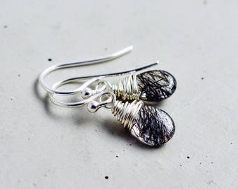 Tourmalinated Quartz Earrings, Gemstone Earrings, Dangle Earrings, Drop Earrings