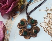 Rainbow Moonstone and Green Aventurine Necklace - Four Leaf Clover Pendant in Antiqued Copper - Lucky Crystal Shamrock Necklace - Ewyndra
