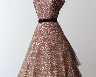 Vintage 1950s Dress - 50s Cocktail Party Dress w/ Chocolate Lace over Peach Lining, Accordion Pleated Tulle Peacock Tail (as is) // Waist 28