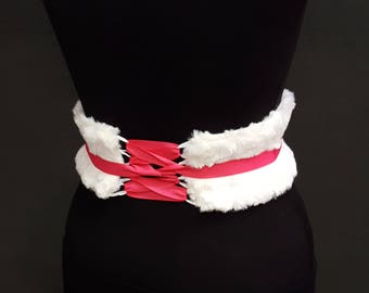 Fluffy Faux Fur White Boned Corset Waist Cincher Obi Any Size