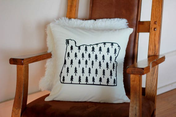 Oregon Tree Print Pattern Pillow / Adventure / Outdoorsy / Nature  Lover / Oregonian/ Explore / Forest / Hand drawn 16 x16 Accent Guy Gift