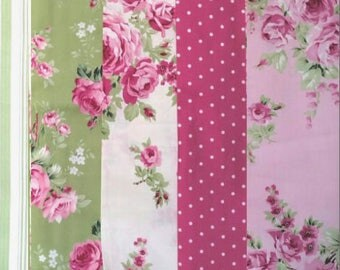 Tanya Whelan - Barefoot Roses Legacy, french country cottage chic fabric bundle, 5 fat quarters