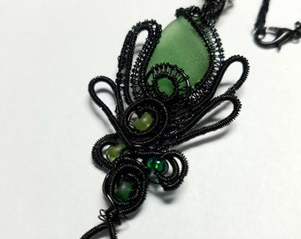 Wrapped and Woven Sea Glass Jewelry-Black Copper-Emerald Green Glass-adjustable chain