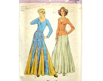 1970s Misses Long Flared Skirt with Godets / Simplicity 6291 / Hippie Skirt Pattern / Boho Chic / Womens Vintage Sewing Pattern / Size 10