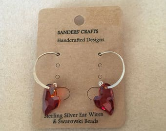 Sterling Silver Swarovski Red Heart Earrings