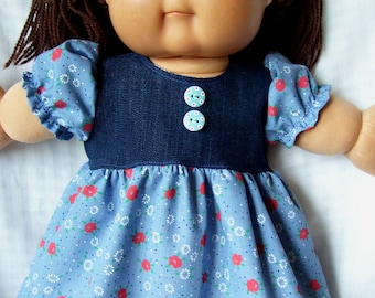 Cabbage Patch doll clothes, Blue dress set,fits 16inch to 18inch baby dolls