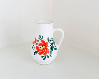 Vintage Ceramic Vase Pitcher with Flowers Home Decor Small Decorative