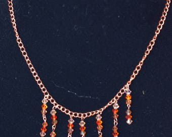 Handmade copper chain necklace with Swarovski crystals