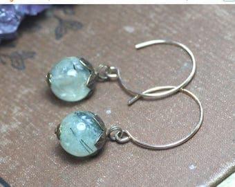 SALE Prehnite Earrings Green Gemstone Earrings Rustic Jewelry Green Earrings