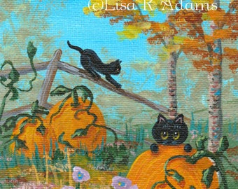 Whimsical Black Cat Fall Landscape Painting Miniature Mini Canvas Creationarts