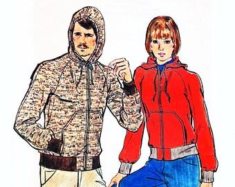1970s Hoodie Jacket Pattern Misses size 12 14 Medium Hooded Jacket for Women Sewing Pattern