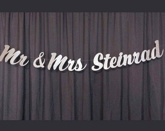 Custom Mr and Mrs Last Name Banner, Sweetheart Table Sign, Last Name Banner, Wedding Reception Banner