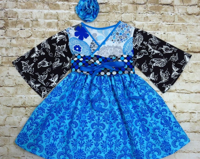Girls Twirly Dress - Big Sister Dress - Little Sister Dress - Twirl Dress - Matching Siblings Dress - Blue Dress - Toddler 12 mos to 14 yrs