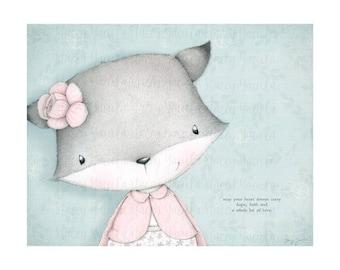 "art print - fox -grey fox - flower -  ""Hope"""