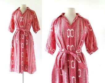 70s Batik Dress | Temple Incense | 1970s Dress | M L
