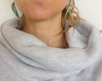 Cruelty Free Macaw Feather Earrings 12k Gold Fill Chain Amethyst Gemstone