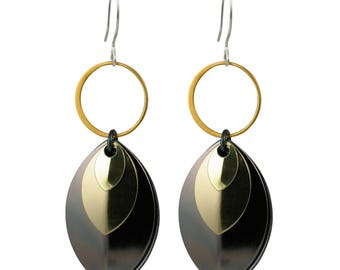 Mixed Metal Monochrome Musings Earrings with Gunmetal, Gold and Silver