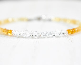 Herkimer 'diamond' crystals with shaded citrine. beaded bracelet. shaded citrine and diamond quartz crystals.  Herkimer and citrine