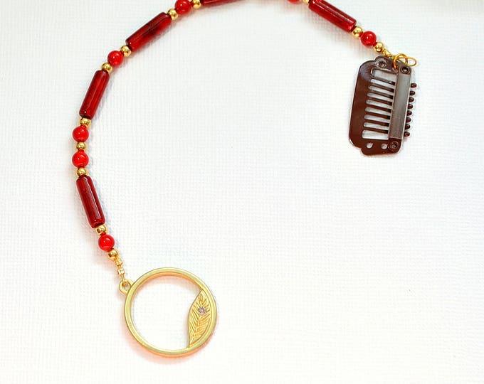SALE - Leaf Hair Clip Hair Charm 7 inch Geisha Hair Beads