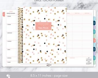 teacher planner 8.5x11 | 2017-2018 lesson plan calendar | weekly teacher planner | personalized teacher planbook | pink gold confetti