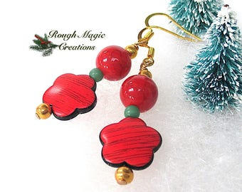 Merry and Bright Christmas Earrings, Holiday Jewelry, Bold Red Green Gold Floral Dangles, Rustic Red Flowers, Festive Gift for Women E392A