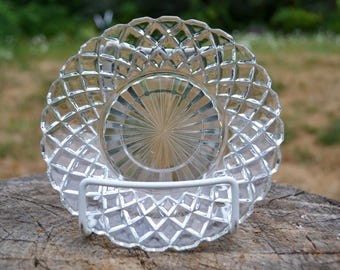 "Vintage ""Waterford' or ""Waffle"" Depression Glass Saucer, Hocking Glass Company"