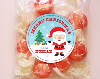 Personalized Christmas Gift Tags. Labels or Stickers - 2, 2.5 or 3 Inch Circle - DIY Printable - Snowy Santa (Digital File)