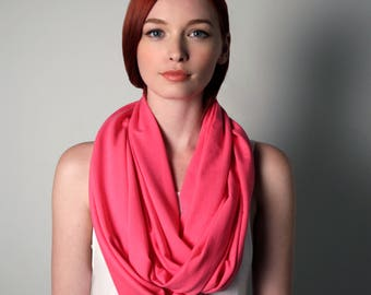 Pink Circle Scarf, Pink Scarf, Pink Infinity Scarf, Valentine Gift, Mom Gift, Women's, Gift for Mom, For Her, Valentines Gift, Girlfriend