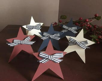 Americana star napkin rings,  set of 6 or 8